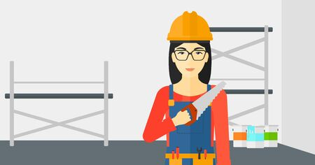 step ladder: An asian female worker holding a saw in hand on a background of walls and step ladder vector flat design illustration. Horizontal layout.