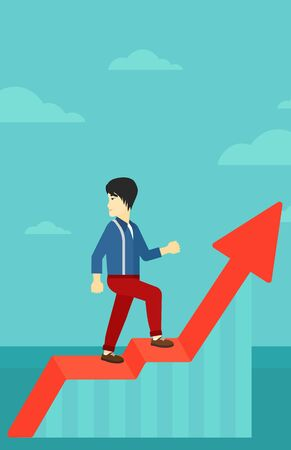 uprising: An asian man standing on an uprising chart and looking down on the background of blue sky vector flat design illustration. Vertical layout. Illustration