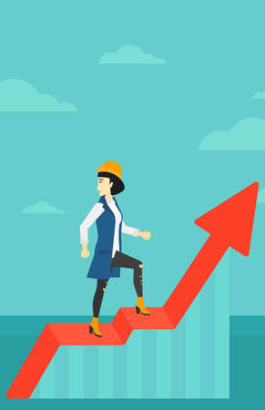 looking down: An asian woman standing on an uprising chart and looking down on the background of blue sky vector flat design illustration. Vertical layout. Illustration