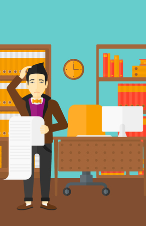 worried man: An asian worried man holding a long bill in hand on the background of business office vector flat design illustration. Vertical layout.