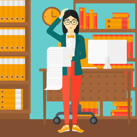 An asian worried woman holding a long bill in hand on the background of business office vector flat design illustration. Square layout.