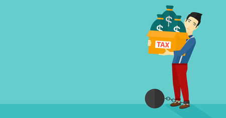 shackles: Chained to a large ball an asian man carrying heavy box with bags full of taxes on a blue background vector flat design illustration. Horizontal layout.