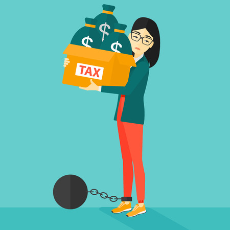 carrying heavy: Chained to a large ball an asian woman carrying heavy box with bags full of taxes on a blue background vector flat design illustration. Square layout. Illustration