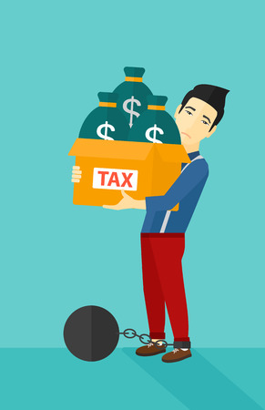 man carrying box: Chained to a large ball an asian man carrying heavy box with bags full of taxes on a blue background vector flat design illustration. Vertical layout.