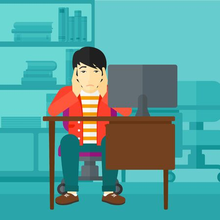 office computer: An asian man sitting at the table in front of computer monitor and clutching his head on the background of business office vector flat design illustration. Square layout. Illustration