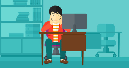clutching: An asian man sitting at the table in front of computer monitor and clutching his head on the background of business office vector flat design illustration. Horizontal layout.