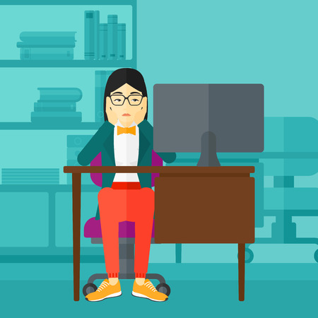 An asian woman sitting at the table in front of computer monitor and clutching her head on the background of business office vector flat design illustration. Square layout.