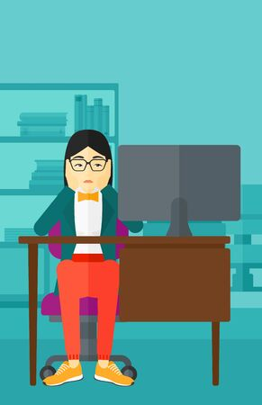 An asian woman sitting at the table in front of computer monitor and clutching her head on the background of business office vector flat design illustration. Vertical layout. Illustration