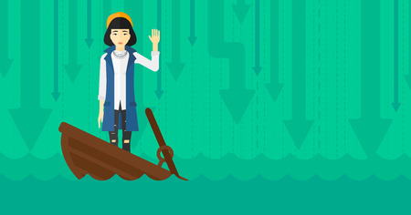 moving down: An asian business woman standing in a sinking boat and asking for help on the background of arrows moving down vector flat design illustration. Horizontal layout.