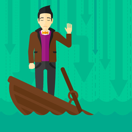 An asian businessman standing in a sinking boat and asking for help on the background of arrows moving down vector flat design illustration. Square layout. 矢量图像