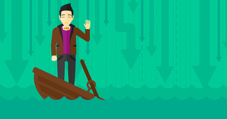 moving down: An asian businessman standing in a sinking boat and asking for help on the background of arrows moving down vector flat design illustration. Horizontal layout.