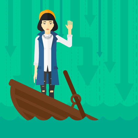An asian business woman standing in a sinking boat and asking for help on the background of arrows moving down vector flat design illustration. Square layout.