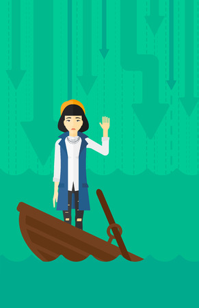 moving down: An asian business woman standing in a sinking boat and asking for help on the background of arrows moving down vector flat design illustration. Vertical layout. Illustration