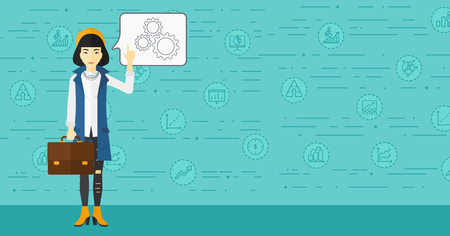 An asian woman pointing her forefinger at a bubble with some cogwheels inside on a blue background with business icons vector flat design illustration. Horizontal layout.