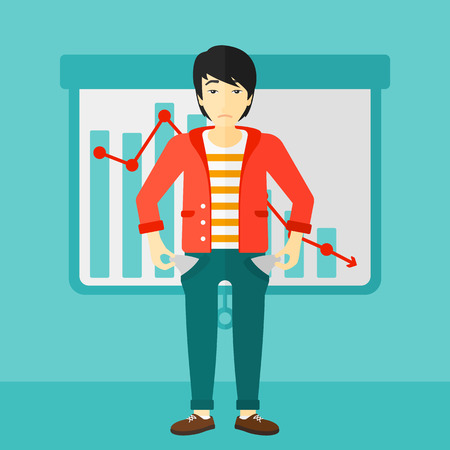 empty pocket: An asian man showing his epmty pockets on the background of projector roller screen with decreasing chart vector flat design illustration. Square layout. Illustration