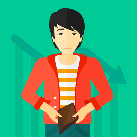 empty wallet: An asian man showing his epmty purse on a green background with decreasing chart vector flat design illustration. Square layout.