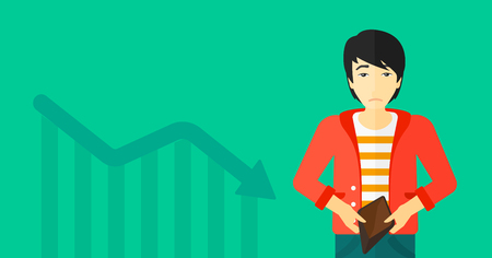 An asian man showing his epmty purse on a green background with decreasing chart vector flat design illustration. Horizontal layout.