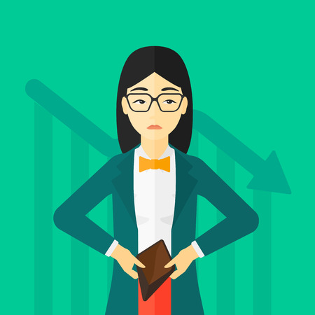 insolvent: An asian woman showing her epmty purse on a green background with decreasing chart vector flat design illustration. Square layout.