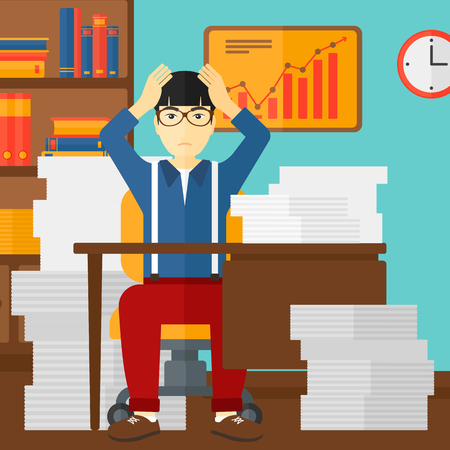 workaholic: An asian man in despair sitting at the table and clutching his head in front of heap of papers on the background of business office vector flat design illustration. Square layout.