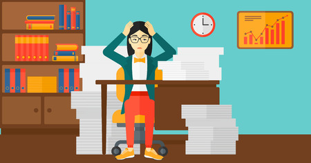 overload: An asian woman in despair sitting at the table and clutching her head in front of heap of papers on the background of business office vector flat design illustration. Horizontal layout.