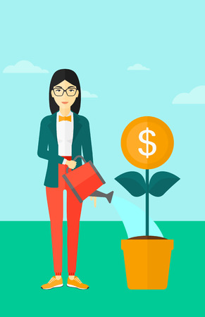 An asian  woman taking care of finances watering a money flower on the background of blue sky vector flat design illustration. Vertical layout. Vettoriali