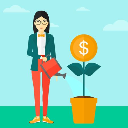 care: An asian woman taking care of finances watering a money flower on the background of blue sky vector flat design illustration. Square layout.