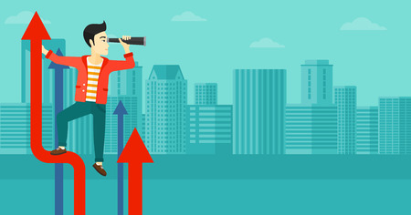asian businessman: An asian businessman standing on the top of graph arrow and looking through spyglass on the background of modern city vector flat design illustration. Horizontal layout.
