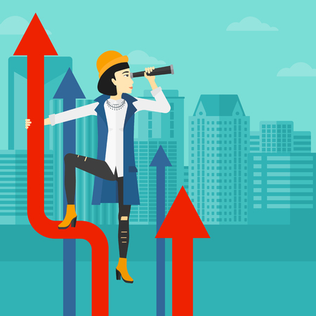 asian business: An asian business woman standing on the top of graph arrow and looking through spyglass on the background of modern city vector flat design illustration. Square layout.