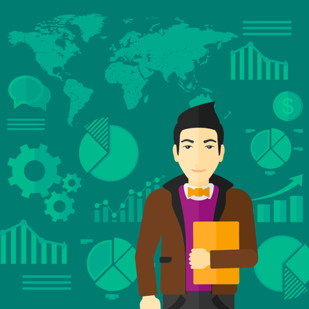 file clerk: An asian office clerk holding a file in hand while standing with growing chart and a map on a background vector flat design illustration. Square layout.