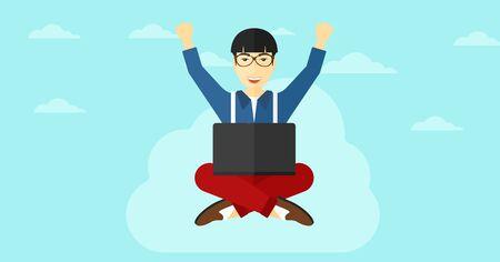 manos levantadas al cielo: Un hombre de negocios asiático con las manos levantadas sentado en una nube con un ordenador portátil en el fondo de cielo azul ilustración vectorial diseño plano. disposición horizontal.
