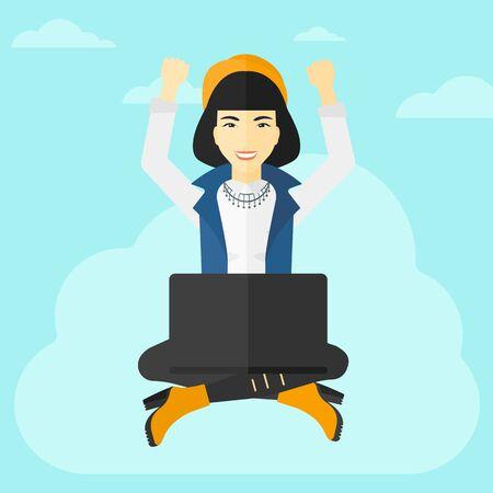 manos levantadas al cielo: Una mujer de negocios asi�tica con las manos levantadas sentado en una nube con un ordenador port�til en el fondo de cielo azul ilustraci�n vectorial dise�o plano. de planta cuadrada. Vectores