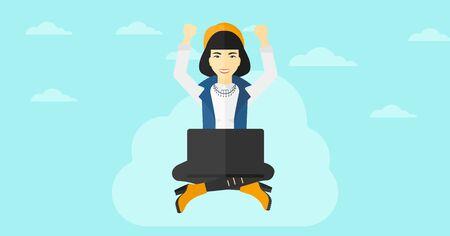 manos levantadas al cielo: Una mujer de negocios asi�tica con las manos levantadas sentado en una nube con un ordenador port�til en el fondo de cielo azul ilustraci�n vectorial dise�o plano. disposici�n horizontal.