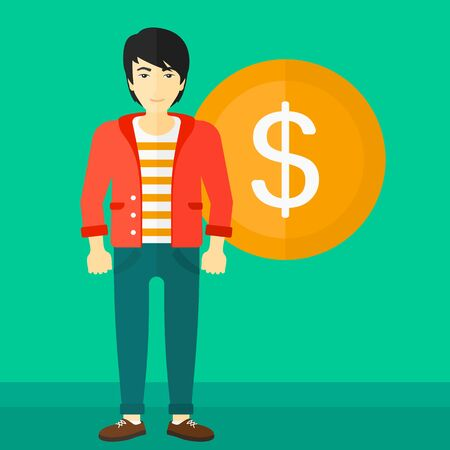 asian manager: An asian man standing with a big dollar coin behind him on a green background vector flat design illustration. Square layout.