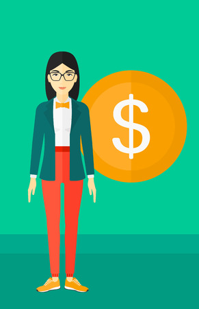 rich girl: An asian woman standing with a big dollar coin behind her on a green background vector flat design illustration. Vertical layout. Illustration