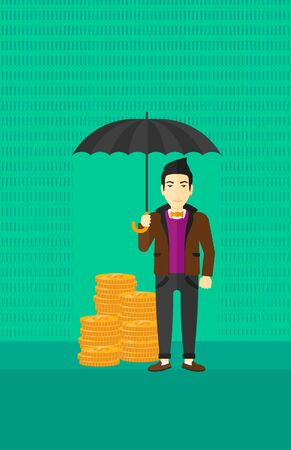 asian coins: An asian man standing in the rain and holding an umbrella over coins on a green background vector flat design illustration. Vertical layout.