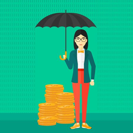 asian coins: An asian woman standing in the rain and holding an umbrella over coins on a green background vector flat design illustration. Square layout.