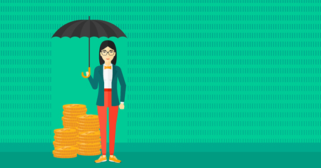 asian coins: An asian woman standing in the rain and holding an umbrella over coins on a green background vector flat design illustration. Horizontal layout. Illustration