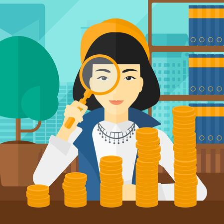 An asian woman holding a magnifier and looking at stacks of golden coins on the background of panoramic modern office with city view vector flat design illustration. Square layout.