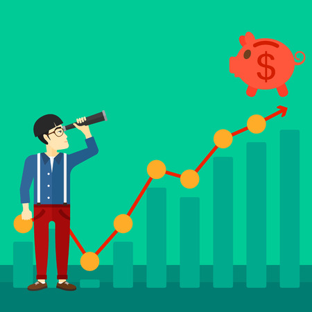 An asian man looking through spyglass at piggy bank standing at the top of growth graph on a green background vector flat design illustration. Square layout. Illustration