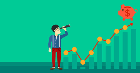 An asian man looking through spyglass at piggy bank standing at the top of growth graph on a green background vector flat design illustration. Horizontal layout. Illustration