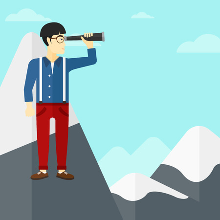 man looking at sky: An asian man  standing on the top of mountain and looking through spyglass on the background of blue sky vector flat design illustration. Square layout.