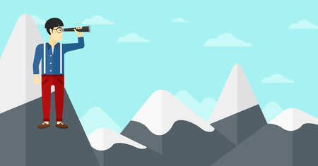 man looking at sky: An asian man standing on the top of mountain and looking through spyglass on the background of blue sky vector flat design illustration. Horizontal layout. Illustration