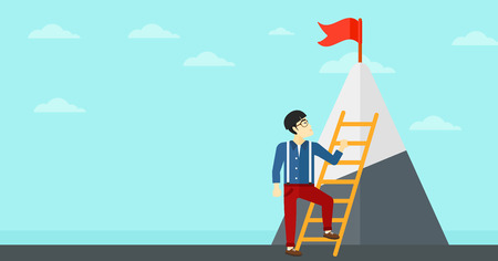 stair climber: An asian man holding the ladder to get the red flag on the top of mountain on the background of blue sky vector flat design illustration. Horizontal layout.
