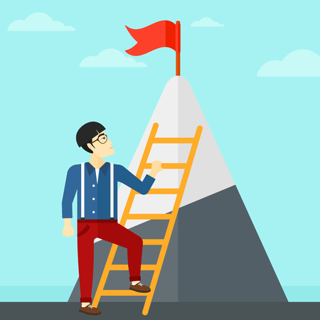 stair climber: An asian man holding the ladder to get the red flag on the top of mountain on the background of blue sky vector flat design illustration. Square layout.