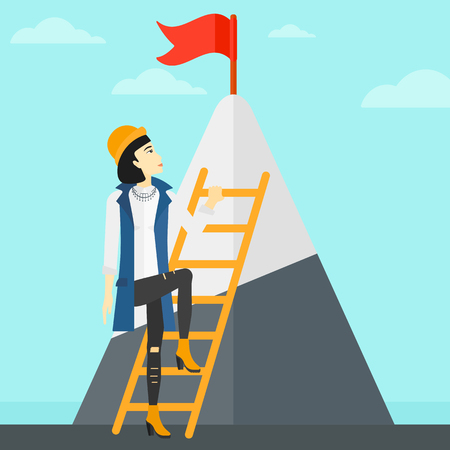 stair climber: An asian woman holding the ladder to get the red flag on the top of mountain on the background of blue sky vector flat design illustration. Square layout.