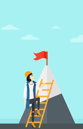 stair climber: An asian woman holding the ladder to get the red flag on the top of mountain on the background of blue sky vector flat design illustration. Vertical layout.