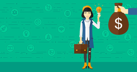 exchanging: An asian woman exchanging her idea bulb to money bag on a green background with business and technology icons vector flat design illustration. Horizontal layout.