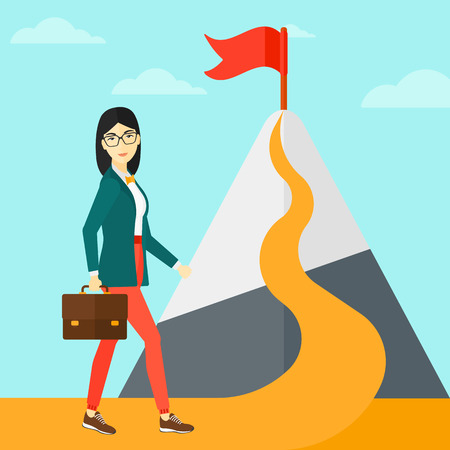asian woman: An asian woman with a suitcase in hand standing on a road leading to the top of the mountain with a flag on the background of blue sky vector flat design illustration. Square layout.
