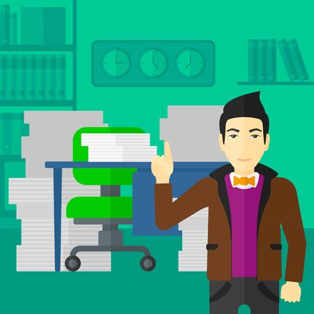 forefinger: An asian man pointing up with his forefinger on the background of office workspace with many files on the table vector flat design illustration. Square layout. Illustration