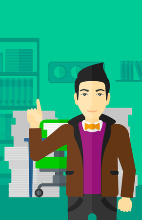man pointing up: An asian man pointing up with his forefinger on the background of office workspace with many files on the table vector flat design illustration. Vertical layout.